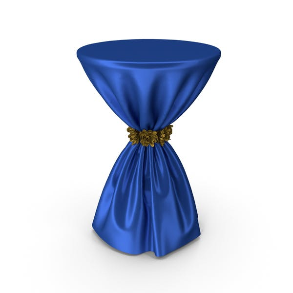 Blue Silk Tablecloth Cocktail Table with Gold Flowers