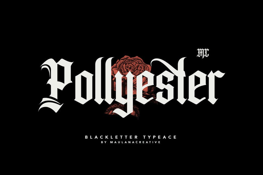 Pollyester Blackletter Typeface Font