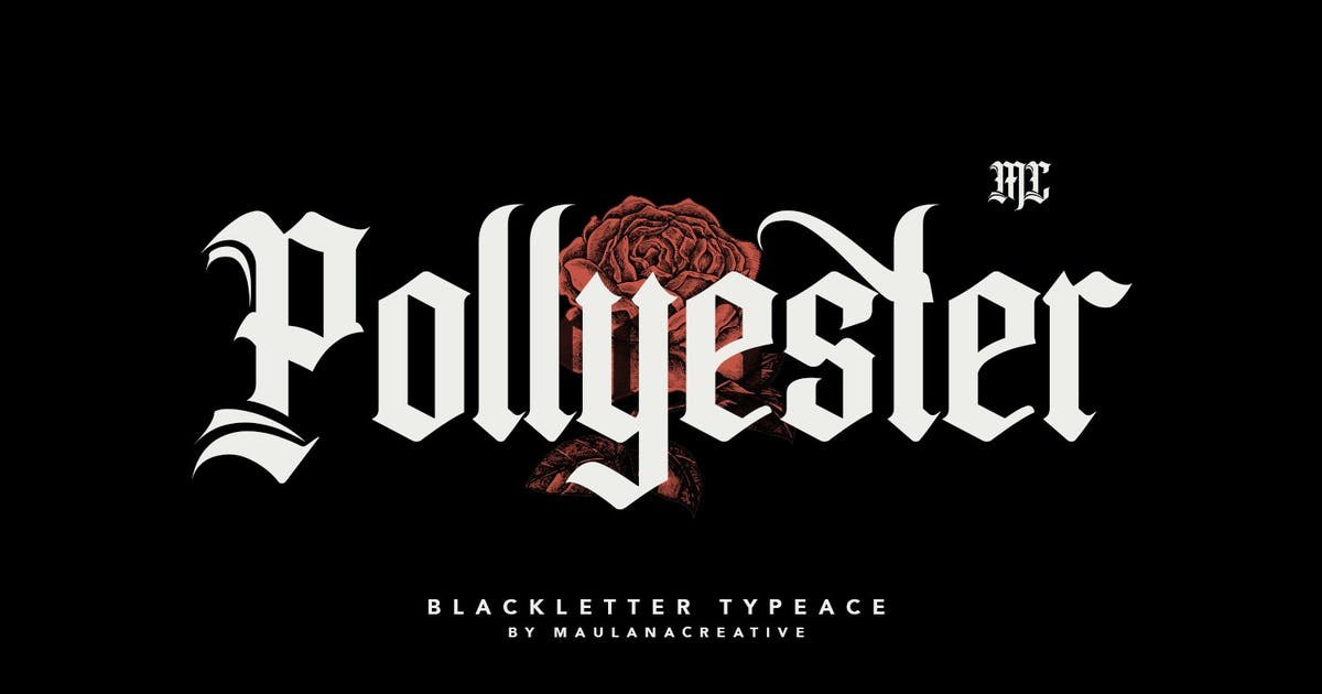 Download Pollyester Blackletter Typeface Font by maulanacreative
