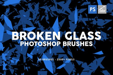 30 Broken Glass Photoshop Stamp Brushes Vol. 1