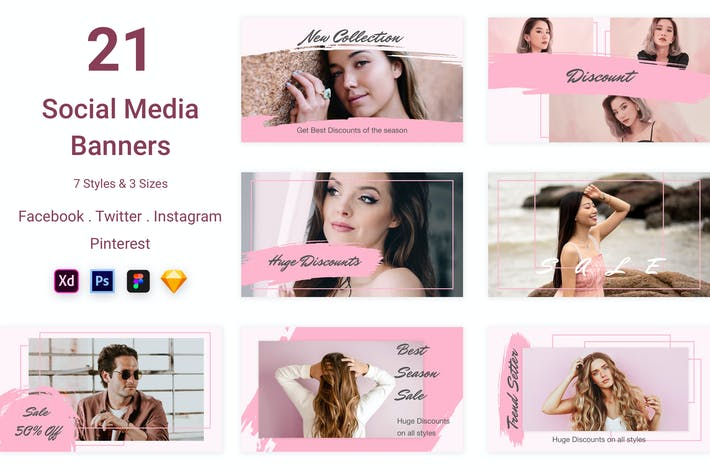 Thumbnail for 21 Social Media Banners Kit (Vol. 6)