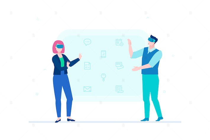 Thumbnail for Man and woman in VR glasses - vector illustration