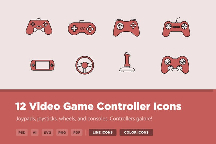 Thumbnail for 12 Video Game Controller Icons