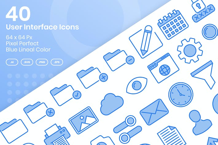 Thumbnail for 40 User Interface Icons Set - Blue Lineal Color
