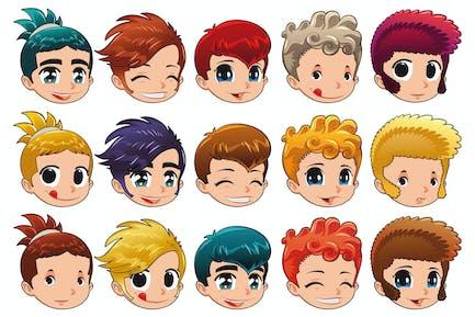 Gruppe von Gesichtern mit verschiedenen Ausdrücken und Haaren