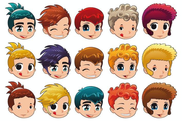 Thumbnail for Groupe de visages avec différentes expressions et cheveux