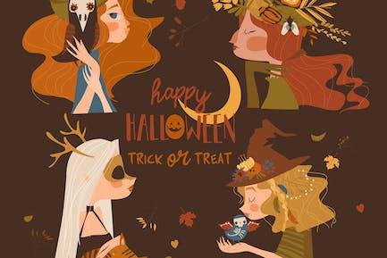 Vier schöne Halloween-Hexen auf braunem Hintergrund