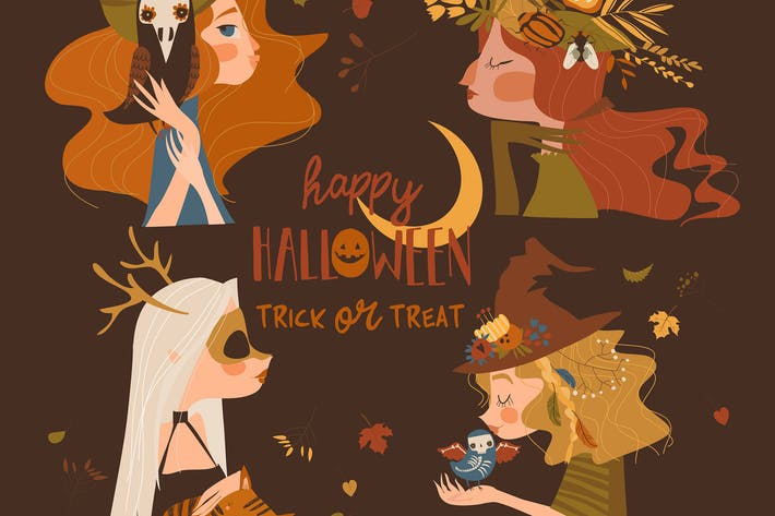 Thumbnail for Four beautiful Halloween witches on brown backgrou