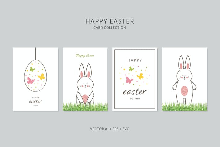 Thumbnail for Happy Easter Card Vector Set