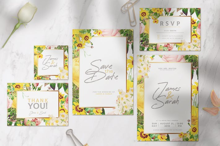 Thumbnail for Wedding Invitation with Colorful Flowers