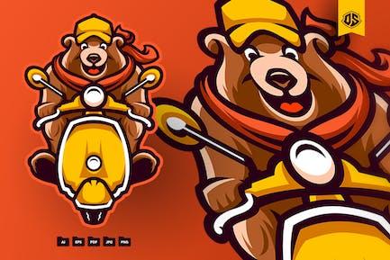 Scooter Bear Cartoon Illustration