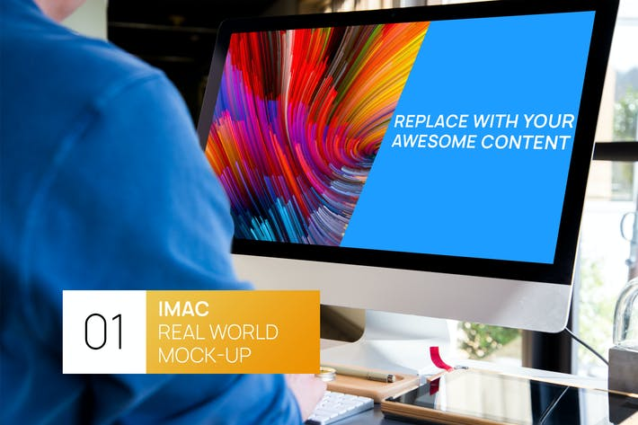 Thumbnail for Person working on iMac Real World Photo Mock-up
