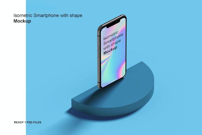 Thumbnail for Isometric Phone with shape Mockup