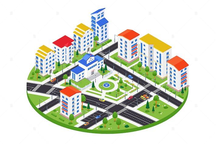 Thumbnail for Stadtviertel - bunte isometrische Illustration
