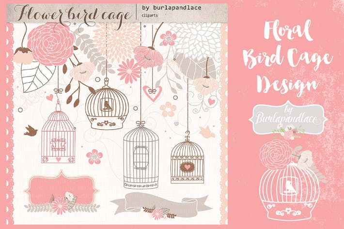 Thumbnail for Blush floral bird cage design
