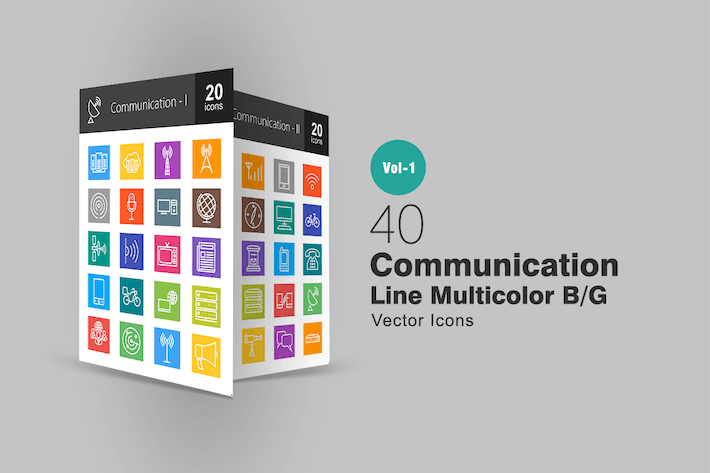 Thumbnail for 40 Kommunikationslinien Multicolor Icons