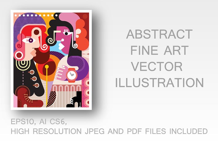 Thumbnail for Two fashionable women fine art vector illustration