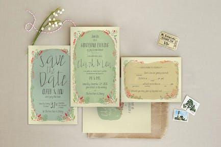 Fern Illustration Wedding Invitation