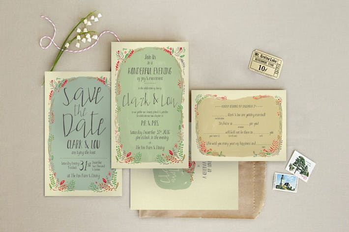 Cover Image For Fern Illustration Wedding Invitation
