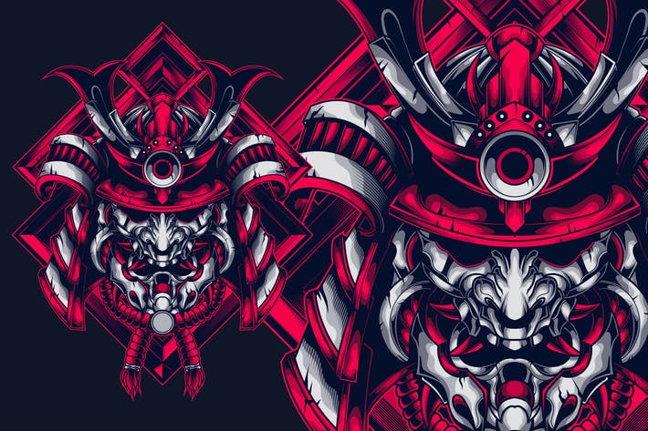 Thumbnail for Samurai head t-shirt design
