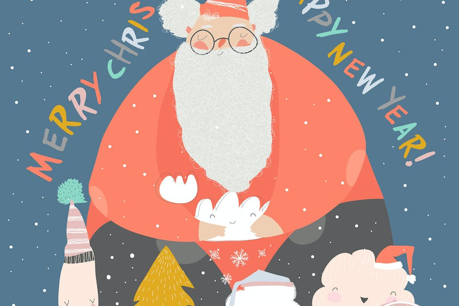 Funny Santa Claus with winter trees. Vector illust