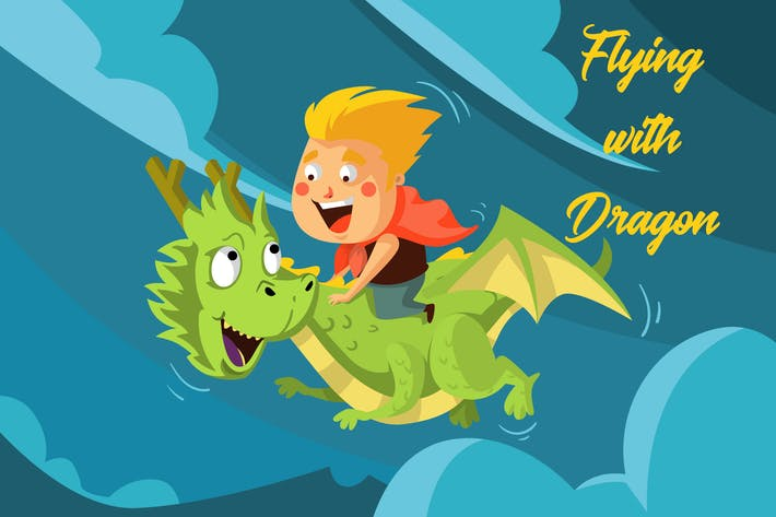 Thumbnail for Flying With Dragon - Illustration
