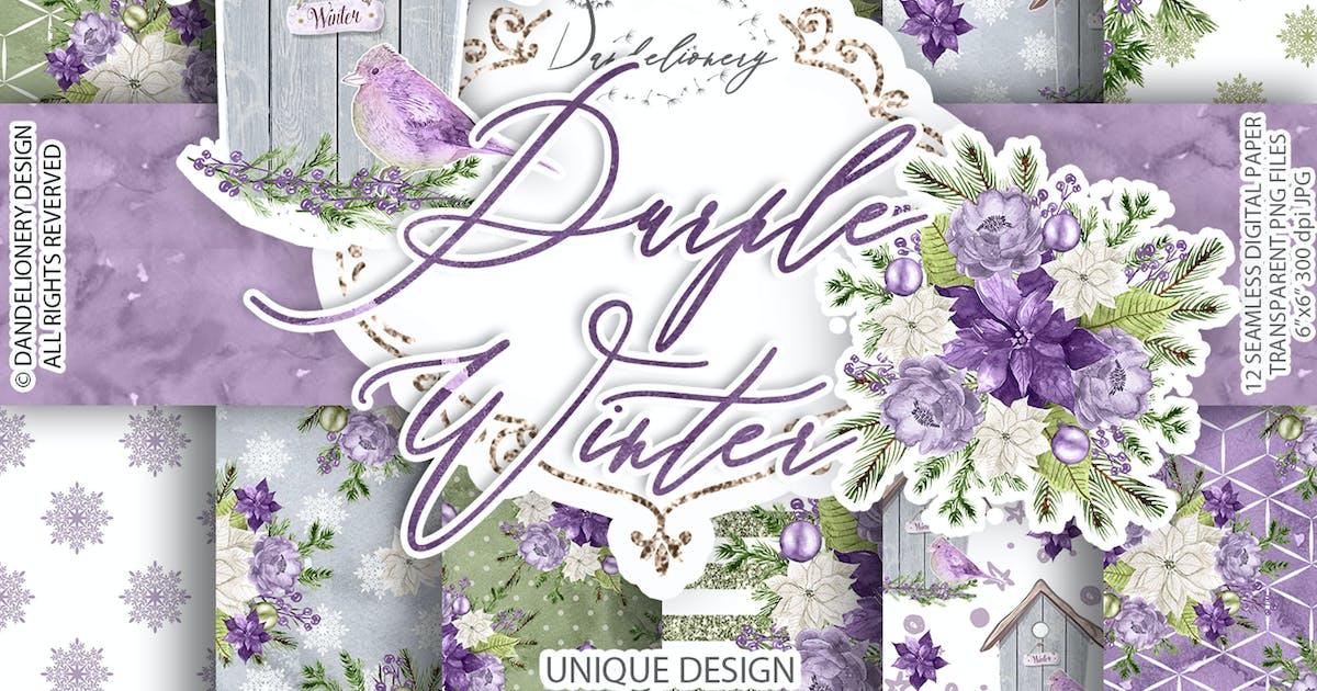 Download Purple Winter digital paper pack by designloverstudio
