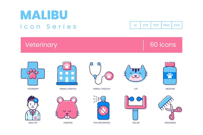 Thumbnail for 60 Veterinary Icons | Malibu Series
