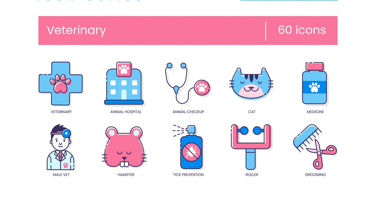 Download 60 Veterinary Icons | Malibu Series by Krafted