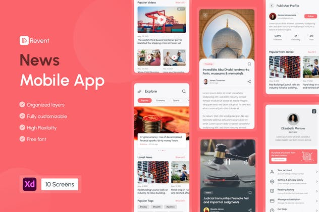 Revent - News & Blog Magazine Mobile App UI Kit