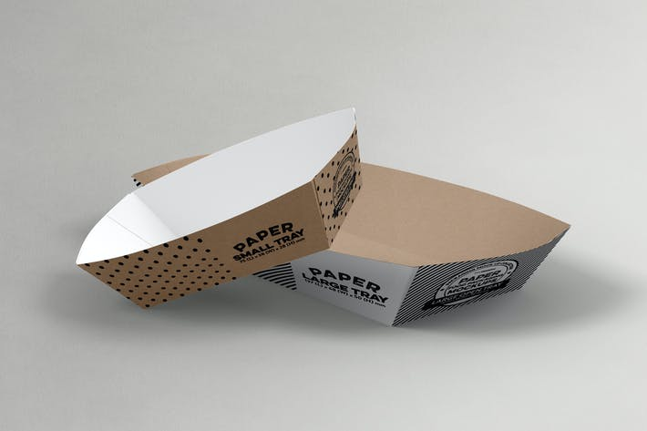 Thumbnail for Paper Takeout Trays Packaging Mockup