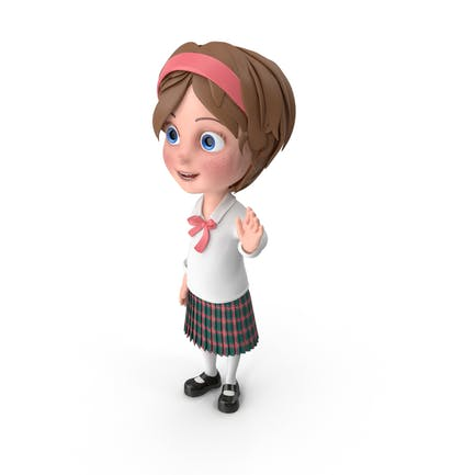 Cartoon Girl Waving Hand
