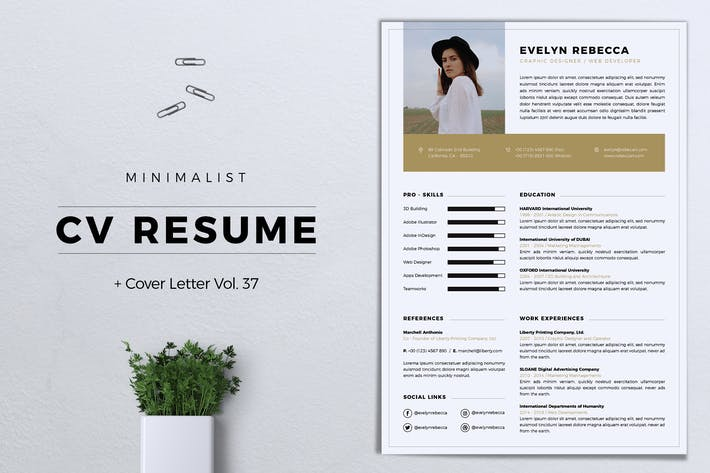 Thumbnail for Minimalist CV Resume Vol. 37