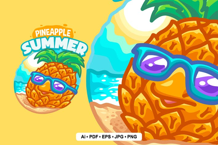 Thumbnail for Pineapple Summer Logo template for Your Business