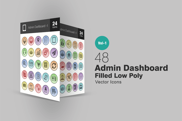 Thumbnail for 48 Admin Dashboard Filled Low Poly Icons