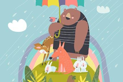 Смешные животные под зонтиком #illustration2020