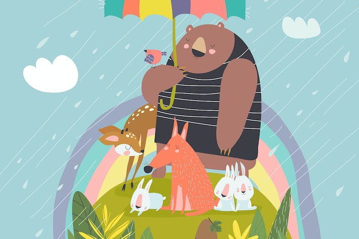 Thumbnail for Funny animals under umbrella #illustration2020