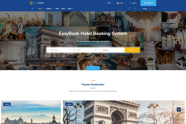 EasyBook – Hotel & Tour Booking WordPress Theme