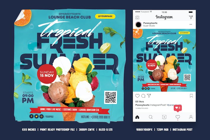 Thumbnail for Summer Party Square Flyer & Instagram Post