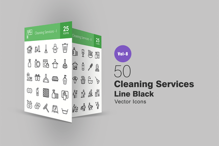 50 Cleaning Services Line Icons