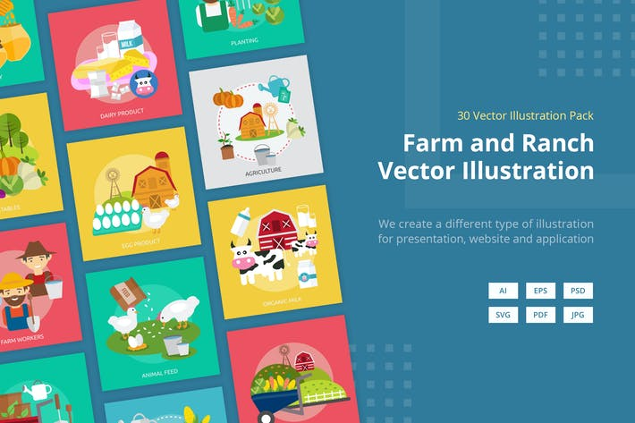 Thumbnail for Farm and Ranch Vector Illustration