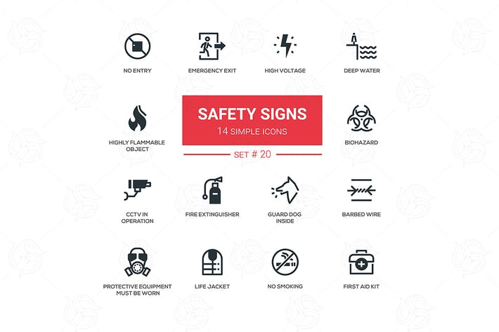 Thumbnail for Safety Signs - modern simple icons, pictograms set