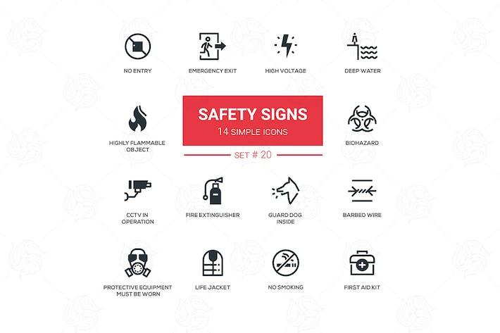 Sicherheitszeichen - moderne einfache Icons, Piktogramme Set