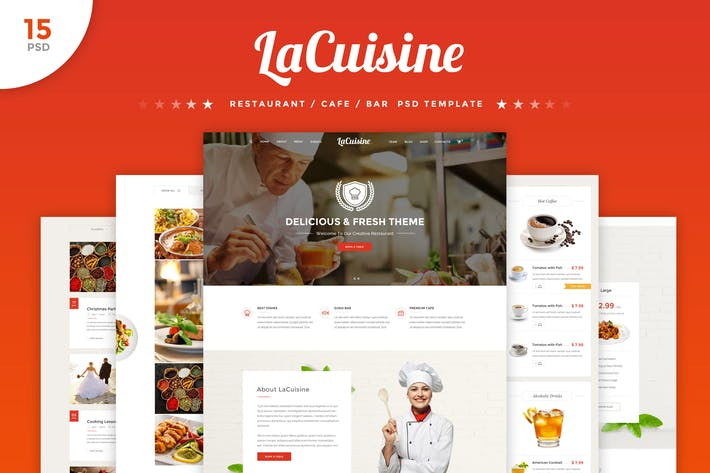 Thumbnail for LaCuisine - Restaurant PSD Template