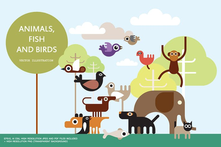 Thumbnail for Animals, Fish and Birds vector illustration