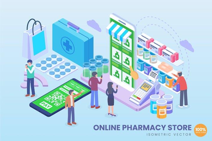 Thumbnail for Isometric Online Pharmacy Store Vector Concept