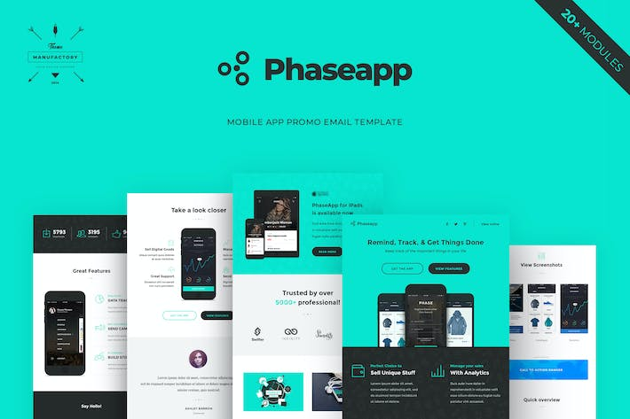 Thumbnail for PhaseApp - Mobile App Promotion Email Template