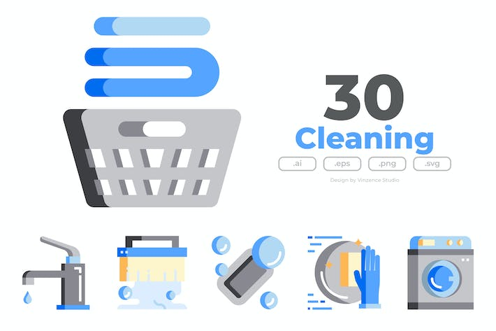 Thumbnail for 30 Cleaning Icons - FLAT
