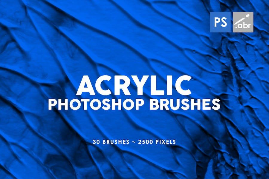 30 Acrylic Texture Photoshop Brushes Vol. 1
