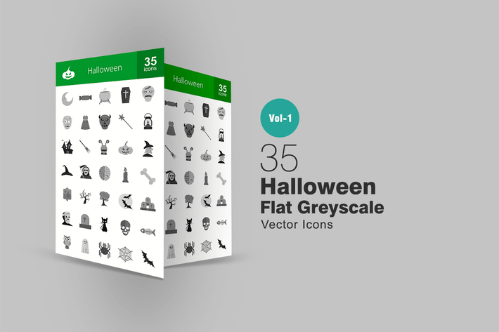Thumbnail for 35 Halloween Greyscale Icons